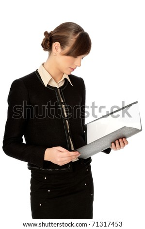 Woman holding file with service document in the hand - stock photo