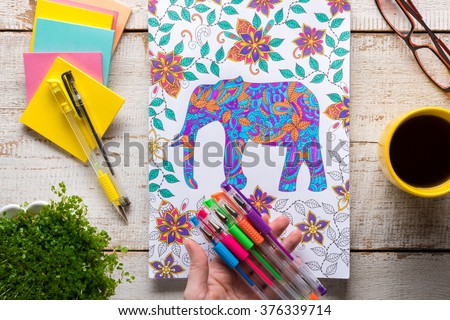 Woman Holding Gel Pens Adult Coloring Stock Photo 376339714 ...