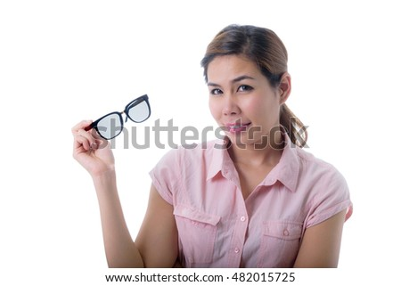 Woman holding glasses isolated on white