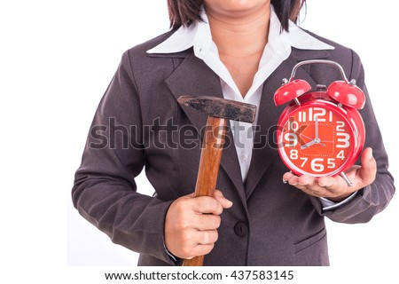 Woman holding hammer and red alarm clock isolated on white background. Breaking time concept - stock photo