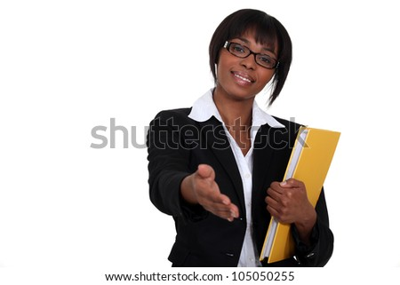 Woman holding hand out - stock photo