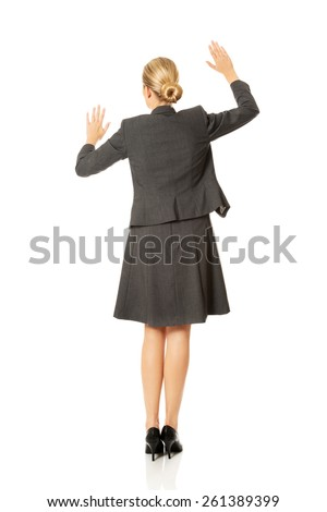 Woman holding hands in copyspace . - stock photo