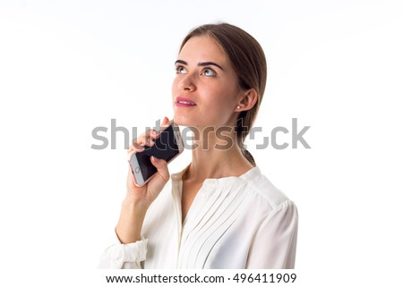 Woman holding her phone