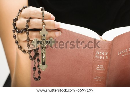 Silver Necklace Cross Hanging Womans Cleavage Stock Photo