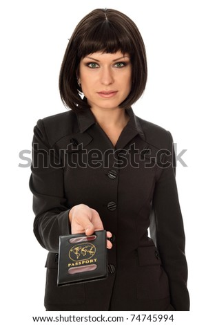 Woman holding in the hand passport business trip - stock photo