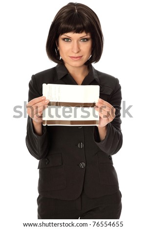 Woman holding in the hand tickets for business trip - stock photo