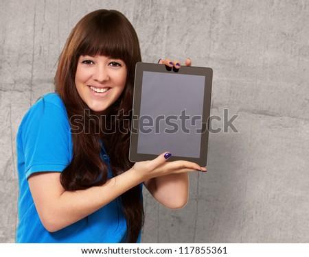 Woman Holding Ipad, Indoor - stock photo