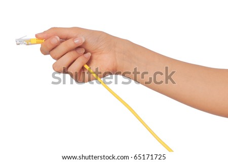 woman holding LAN cord in the hand - stock photo