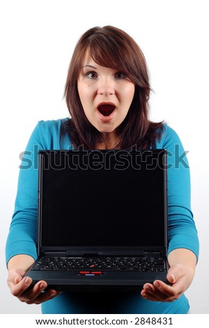 woman holding laptop #8