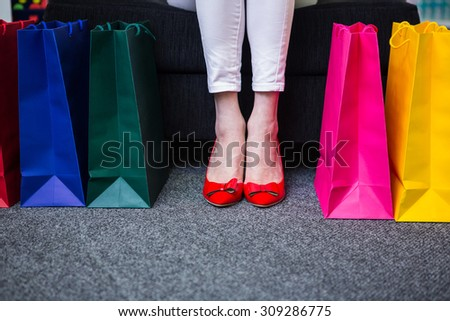 Women High Heels Shopping Bags Three Stock Photo 227913877 ...