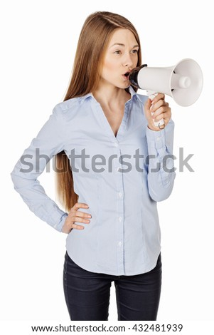 woman holding megaphone with red suit. emotion and business concept studio shoot. image isolated at white background.