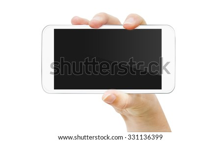 Woman holding modern mobile phone in her hand