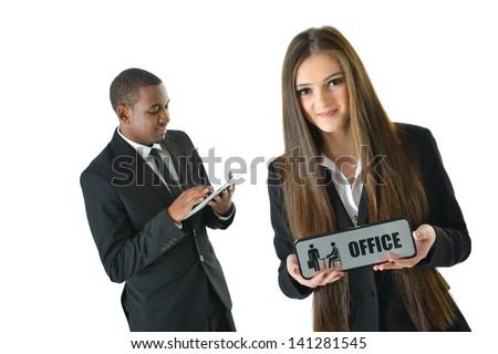 Woman holding office sign - stock photo