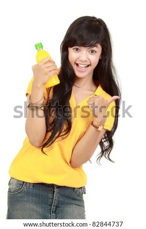Woman holding orange juice smiling showing orange juice product with thumb up sign. isolated over white background - stock photo