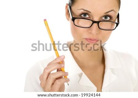 Woman holding pencil - stock photo