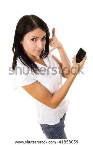 Woman holding phone on white background - stock photo