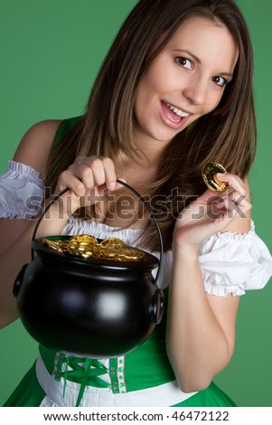 Woman Holding Pot of Gold - stock photo