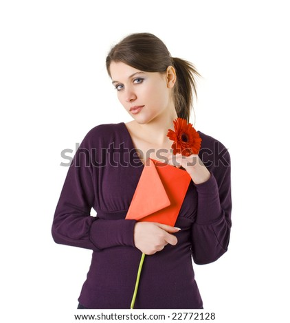 woman holding red flower and envelope for Valentines day - stock photo