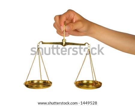 Woman holding scale of balance - stock photo
