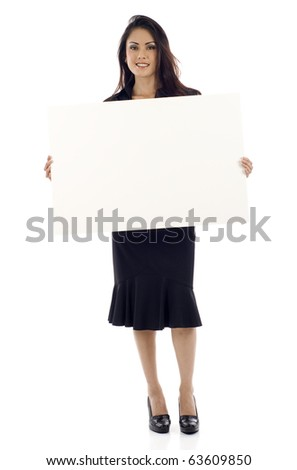 Woman holding sign or board - Portrait of a beautiful Asian business woman holding a blank billboard. - stock photo