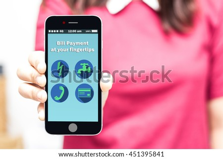 woman holding smart phone online bill payment at your fingertips,high key - stock photo