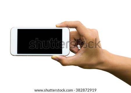 Woman holding smart phone with clipping path.