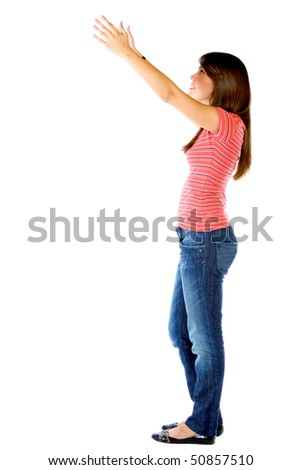 Woman holding something imaginary isolated over a white background