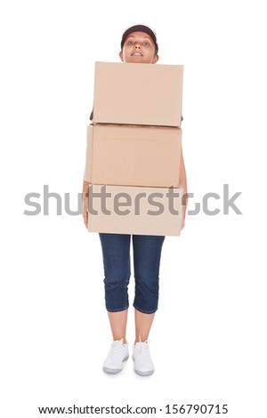 Woman Holding Stack Of Cardboxes on white background - stock photo