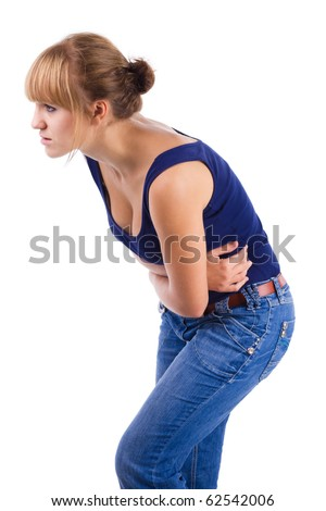Woman holding stomach in pain - stock photo