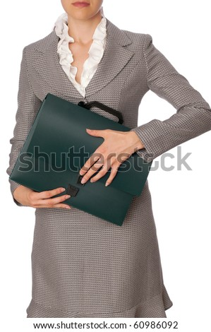 Woman holding suitcase with documents and contracts in the hands
