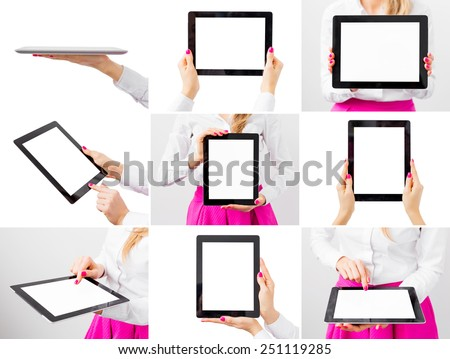 Woman holding tablet computer, collage of different photos - stock photo