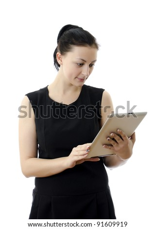 Woman holding tablet computer isolated on white background