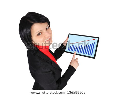 woman holding  tablet with chart on screen