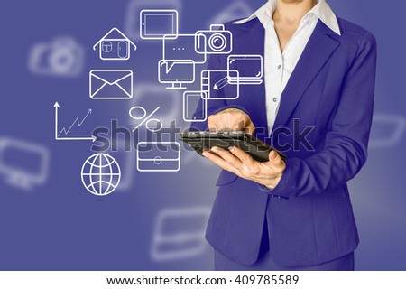 woman holding  tablet with  logo application