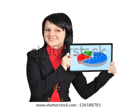 woman holding  tablet with pie chart on screen - stock photo