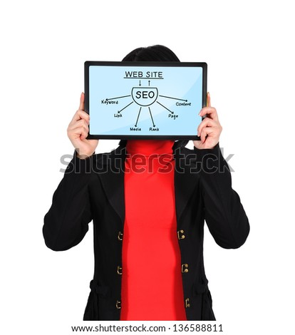 woman holding tablet with seo scheme - stock photo