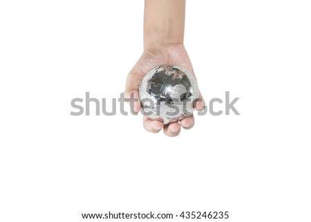 woman holding the earth in his hands. Isolated on white background - stock photo