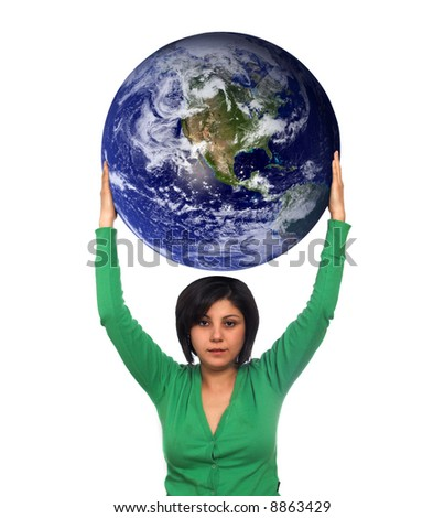 woman holding the earth (world image courtesy of NASA)