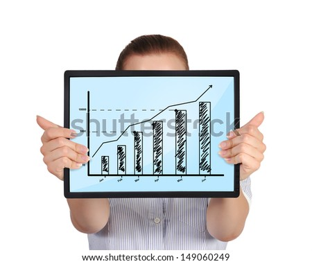 woman holding touch pad with graph