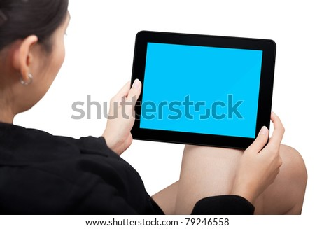 Woman holding Touchpad PC (Tablet PC) - stock photo