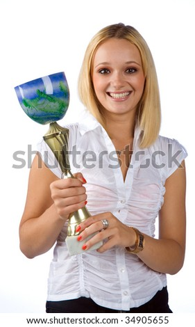 woman holding trophy - stock photo