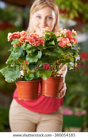Woman holding two pots with elator-begonia in nursery shop - stock photo