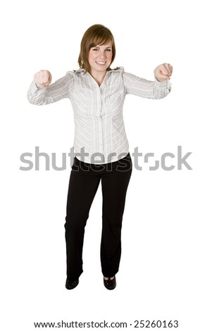 woman holding up hands to hold onto an object - stock photo
