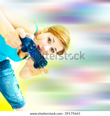 Woman Holding Video Game Controller - stock photo