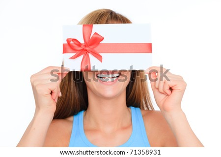 woman holding voucher - stock photo