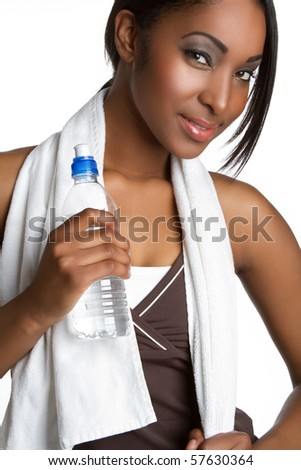 Woman holding water bottle - stock photo
