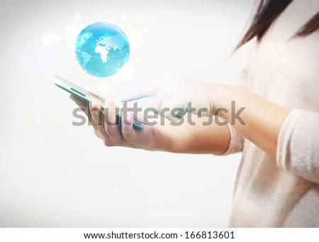 woman holding world  - stock photo