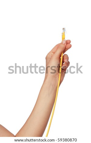 woman holding yellow LAN cord in the hand