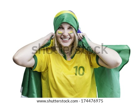Woman holds a brazilian flag on the white background - stock photo