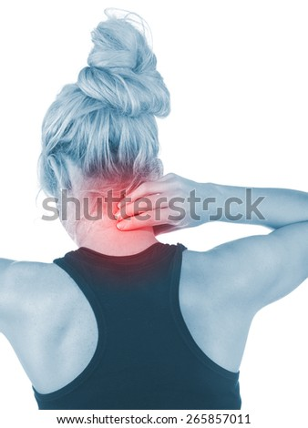 Woman holds a hand on pain neck. Backache. Medical concept  - stock photo